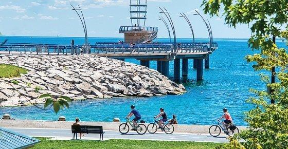 Cycling in Downtown Burlington